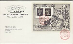 GB Stamps First Day Cover Stamp World MS, Penny Black etc SHS Maltese Cross 1990