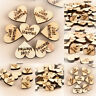 Rustic Wooden Wood Love Heart Wedding Table Scatter Decoration Crafts 100pcs/bag