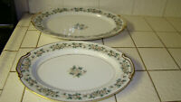 """NORITAKE china LAURETTE 5047 Lot of 2 Oval Platters 13 1/2"""" and  11 3/4"""""""