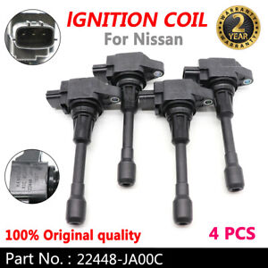 (4)OEM 22448-JA00C Ignition Coil Fits Nissan Altima Rogue Sentra Versa Genuine