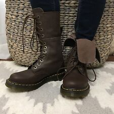 NEW IN BOX Dr. Martens 7 Tall Mid Calf Brown Lace Up Leather Combat Boots
