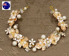 Women Wedding Bride Flower Girl gold leaf Hair Headband Prop Garland Hairpiece