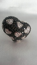 BLACK SPINEL& NATURAL ZIRCON STERLING SILVER BEAUTIFUL HEART STYLE RING SIZE 7