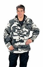 Snow Camo SIZE 5XL MEN M-65 FIELD JACKET W COLD WEATHER LINER BLACK CAMOUFLAGE