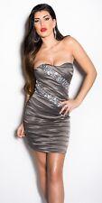 Koucla Dress Cocktail Kleid Party Minikleid Abendkleid Grau Gr.40 L