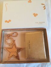 Ted Baker Rose Gold Leather Credit Card Holder With Star KeyringBag Charm New