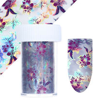 Purple Flower Holographic Starry Nail Foil Holo Nail Art Transfer Stickers Decal