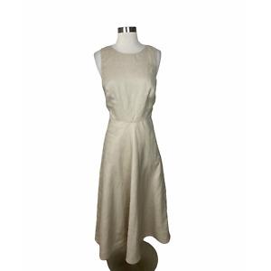 Loro Piana 42 US 8 Italy Tan Khaki 100% Linen Sleeveless Dress