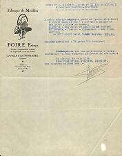 80 DOMART-EN-PONTHIEU FABRIQUE DE MEUBLES POIRé FRERES COURRIER 1931