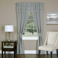 Silver Trellis Modern 5-Piece Window Curtain Set Light Filter Rod Pocket Panel