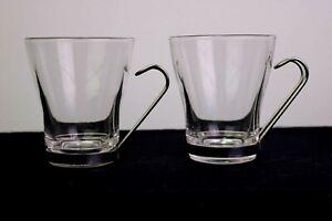 Bormioli Rocco Verdi Oslo 7.5 oz Cappuccino Mug Set of 2 Metal Handle