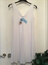 New M&S Collection Knee Length Loose Fit White Sleeveless Beach Dress Size 10/12