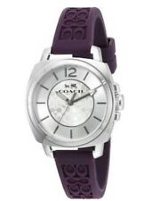 NWT COACH Silicon Strap Women's Boyfriend Watch In Dark Purple Eggplant Color