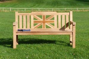 3 Seater Teak Wooden Garden Bench UK Outdoor Patio Seat Chair Memorial War Wood
