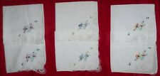 Set of 6 vintage Hankies with floral embroidery and lace corners