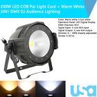 200W LED Stage COB Par Light Cool  Warm White 2IN1 PAR64 DMX DJ Audience Light