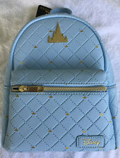 NWT LOUNGEFLY DISNEY CINDERELLA CASTLE MINI BACKPACK PURSE BLUE GOLD NEW RELEASE