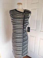 NWT WORTH New York Black & White Stripe Jersey & Ponte Sleeveless Coat Size M