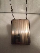 New listing Antique Ladies Silver Plated Compact, Coin Purse with Chain -Engraveable - # L