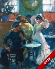FRENCH CAFE BAR EARLY 1900'S ERA FRANCE PAINTING ART REAL CANVAS PRINT