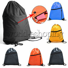 Unisex Zip Drawstring Bags Shoe Sports Gym PE Dance School Backpack Swim Outdoor