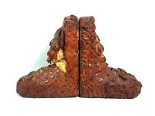 Very Rare Early Alligator / Dinosaur Leather Feet Bookends