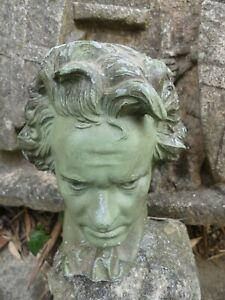 Beethoven buste en régule patine verte monté en lampe à l'origine vers 1970 14cm