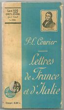 LETTRES DE FRANCE ET D'ITALIE Paul Louis Courier Editions Nilsson