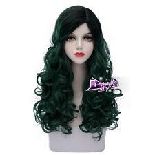 Black Mixed Dark Green 60CM Long Curly Lolita Synthetic Cosplay Wig + Wig Cap
