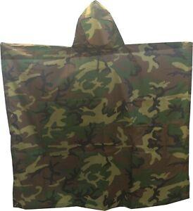 USGI Military Style Multi Use Rip Stop Nylon Poncho (Woodland Camo, Rain Poncho)