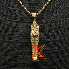 "3MM 24"" STAINLESS STEEL GOLD EGYPT  PHARAOH TUT PENDANT NECKLACE BOX CHAIN"