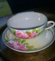 SALE. VTG NIPPON Hand Painted Beautiful Fine Porcelain Tea Cup & Saucer. GUC.