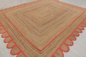 Rug Jute Natural 100%Handmade Braided 8x12 Feet Decorative Rustic Look Carpet