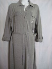 JONES New York Ladies GRAY Sheath Dress.STRETCH.Belt.Adj Slv.2pkts. sz Large.nwt