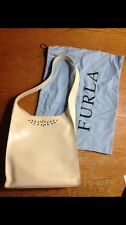 Furla Leather Shoulder Bag Handbag Purse Cream EC