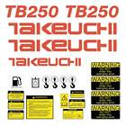 Takeuchi TB250 Decals Kit Mini Excavator repro TB250 stickers kit