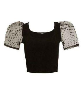 Quiz Black Organza Puff Sleeve Crop Top Size 12 Polka Dot Sheer BNWT