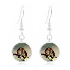 Mother's Owl  Photo Art Glass Cabochon 16mm Charm Earring Earring Hooks