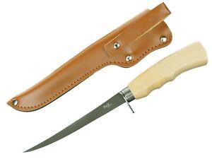 Filetiermesser Filier Angel Fisch Messer Holzgriff Edelstahl mit Scheide Outdoor