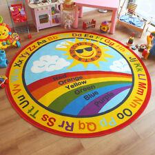 Kids Children's Coloured Numbers Sun Rainbow Alphabet Round Rug 2m x 2m