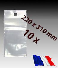 LOT 10  sachets pochette plastique zip 220x310 22x31 alimentaire 50 microns   f