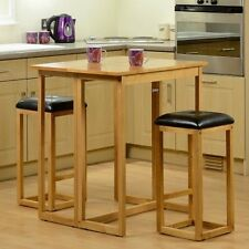 Bar Breakfast Table Stool Set Furniture Kitchen Oak Wood Dining Table 2 Chairs