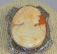 "Art Deco Rhodium Plate Filigree 1 3/4"" Large Carved Shell Cameo Brooch"