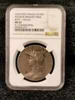 France Silver Award Medal of the Ministry of the Interior Roty 35mm - NGC MS-62