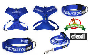 ASSISTANCE DOG Collar or Harness or Lead Padded Waterproof Non Pull XS S M L