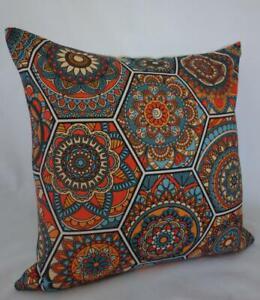 Bohemian Abstract Retro Eames Orange Teal Home Decor Cushion Cover 45