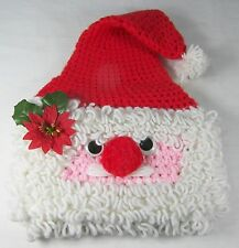 """Hand Crocheted SANTA FACE HAT Google Eyes Small Size 18"""" Inner Circumference"""