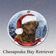 Holiday Pet Gifts Chesapeake Bay Retriever Santa Hat Dog Porcelain Ornament