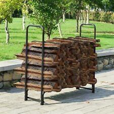 4 Ft Metal Log Rack Outdoor Stacking Wood Steel Tubing Backyard Lumber Storage