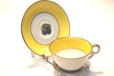L gn France Demitasse Porcelain Teacup & Saucer Yellow Edge with Gold Trim
